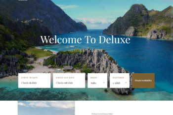 Free Hotel Plus Resort Booking HTML Template