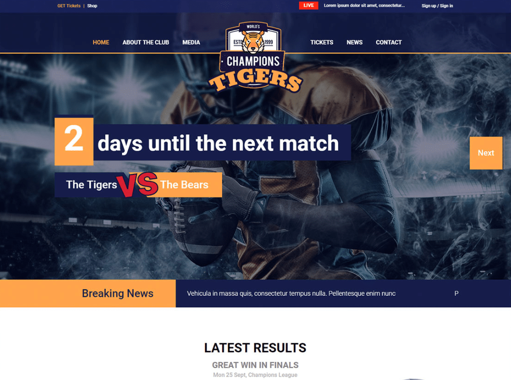 Sports Events Website
