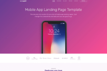 Free Modern Mobile App Page HTML Template