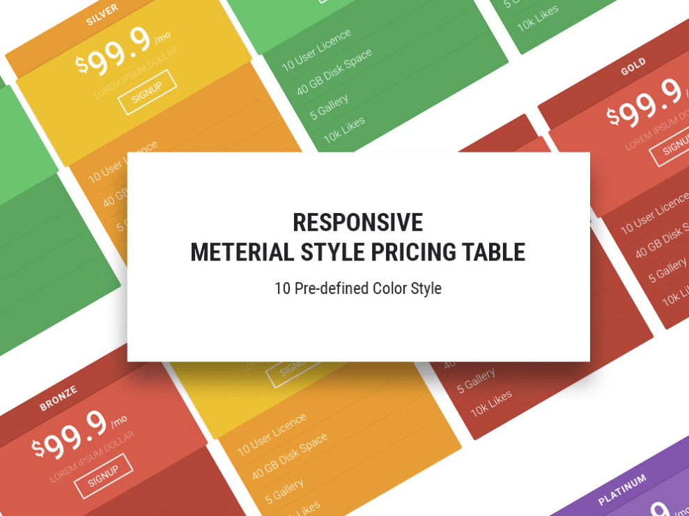 Colorful Online Pricing Table