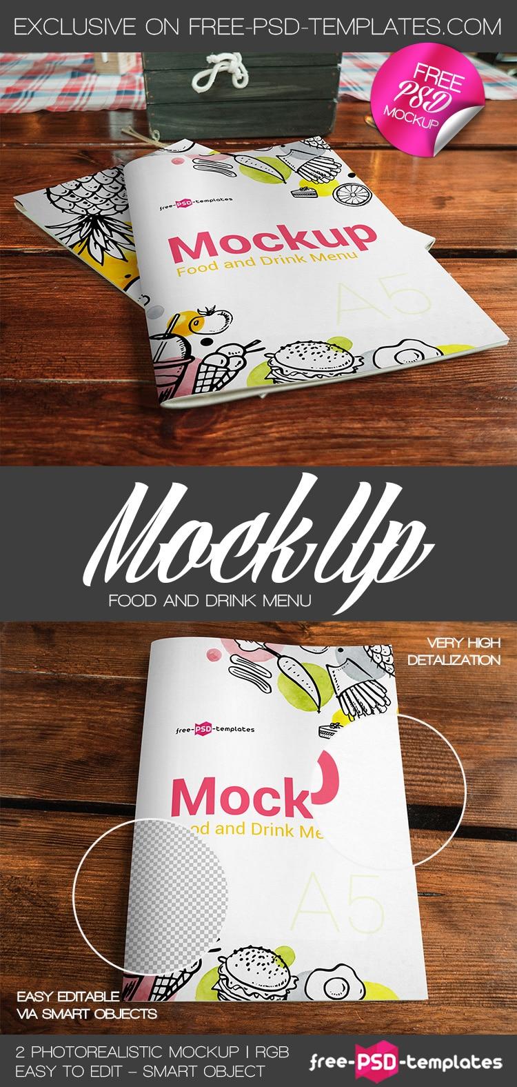 2 food and drink menu PSD mockups