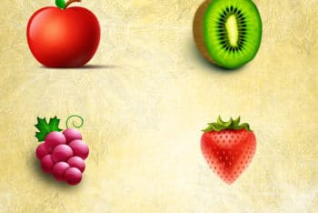 Free Vegetables Plus Fruits Design Mockup in PSD