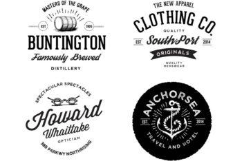Free Vintage Clothing Line Logo Mockup in PSD