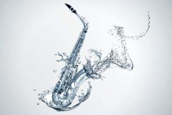 Free Saxophone Plus Water Effect Mockup in PSD