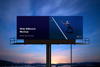 Wide Billboard PSD Mockup for Outdoor Advertising