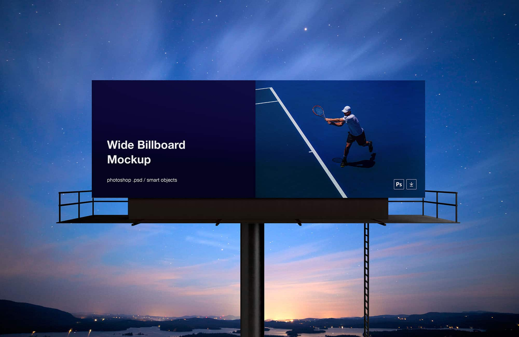 Wide-Billboard-Mockup One Page Template Bootstrap Personal on how use, list crud actions, login page, grid layout,