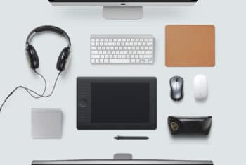 Free Top View Designer Desk Essentials Mockup