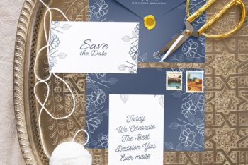 Wedding Stationery Mockup Set for Free