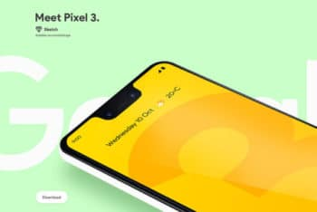 Free Google Pixel 3 XL Phone Mockup in PSD