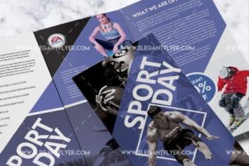 Tri-fold Sports Brochure PSD Mockup for Free