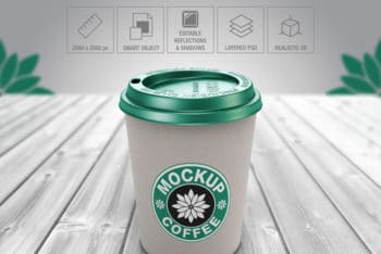Free Paper Cup PSD Mockup for Showcasing Your Unique Coffee Label Design