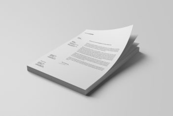 Stacked Letterheads PSD Mockup for Showcasing a Stack of Letterheads Design