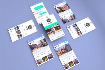 App PSD Mockup for Designing Isometric App Screens View