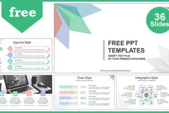 Free Colorful Abstract Leaves Powerpoint Template