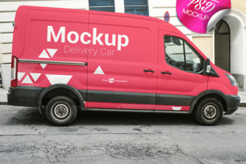 Delivery Car PSD Mockup for Outstanding Outdoor Advertising