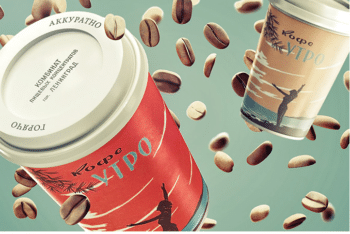 Free Coffee Packaging PSD Mockup for Showcasing Your Brand Design on Paper Cup & Pouch Packaging