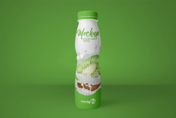 Yogurt Bottle PSD Mockup for Showcasing Bottle Packaging Design
