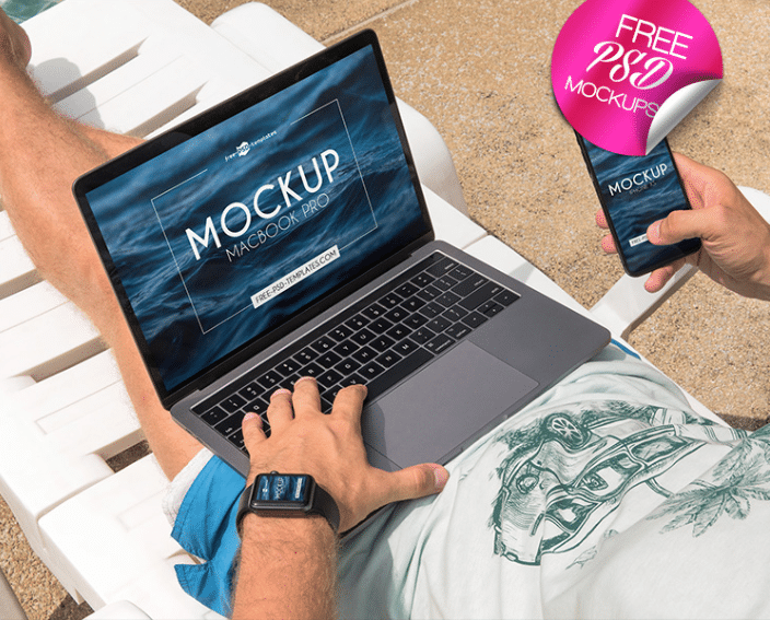 MacBook iPhone & Apple Watch Design PSD Mockup