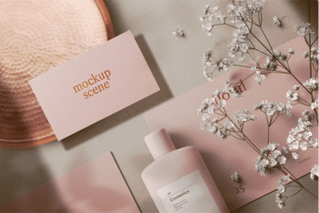 Cosmetics Packaging with Stationery PSD Mockup – Available with a Beautiful Floral Design