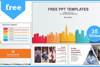 Free Business City Buildings Powerpoint Template