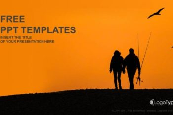 Free Couple Sunset Fishing Powerpoint Template