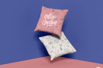 Free Square Pillow Set PSD Mockup for Showcasing Creative Pillow Textile Designs