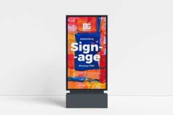 Outdoor Advertising Signage PSD Mockup for Free