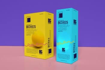 Photorealistic Packaging Box Design PSD Mockup for Free