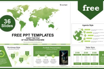 Free Global Business Map Powerpoint Template