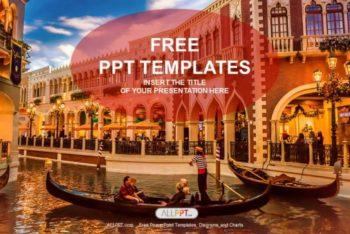 Free Venice Gondolas Scene Powerpoint Template
