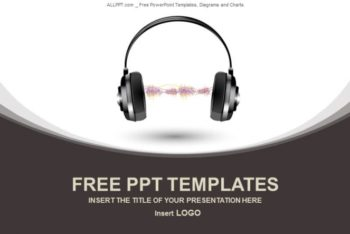 Free Wavy Headphone Device Powerpoint Template