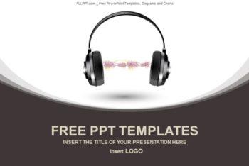 Free Wavy Headphone Device Powerpoint Template