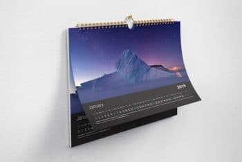 Horizontal Wall Calendar PSD Mockup for Free