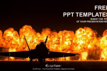 Free Awesome Jet Fighter Explosion Powerpoint Template