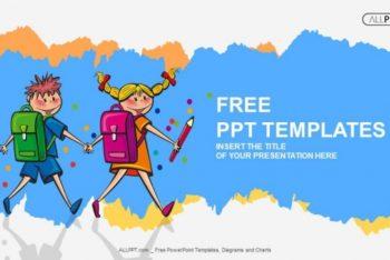 Free Cute School Children Concept Powerpoint Template