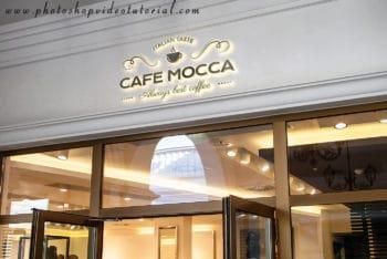 Photorealistic Shop Facade Logo Mockup for Free