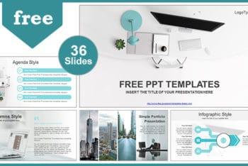 Free Modern Office Computer Powerpoint Template