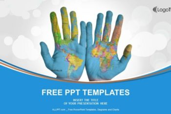 Free Painted World Map Hands Powerpoint Template