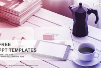 Free Coffee Plus Smartphone Scene Powerpoint Template
