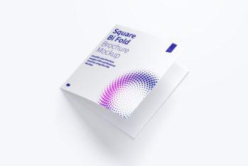Square Bi-fold Brochure Mockup for Free