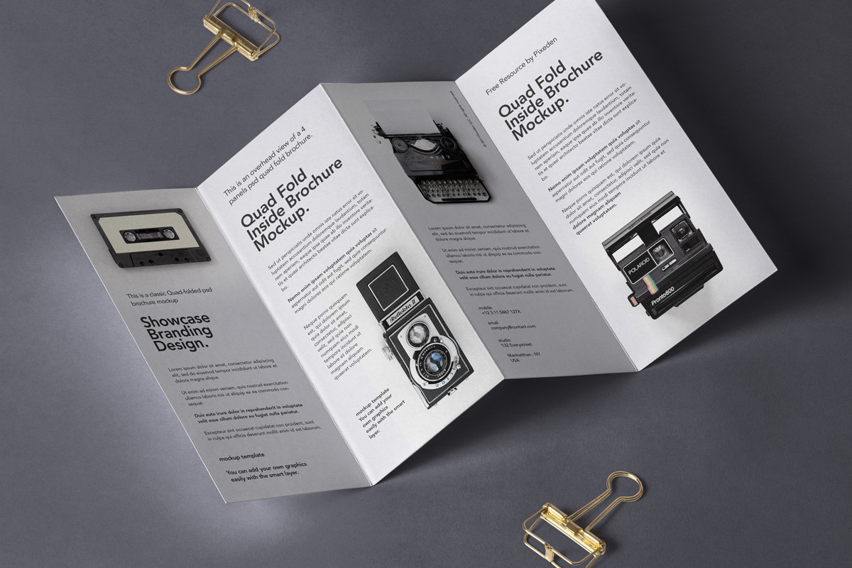 four fold panel brochure psd mockup download for free