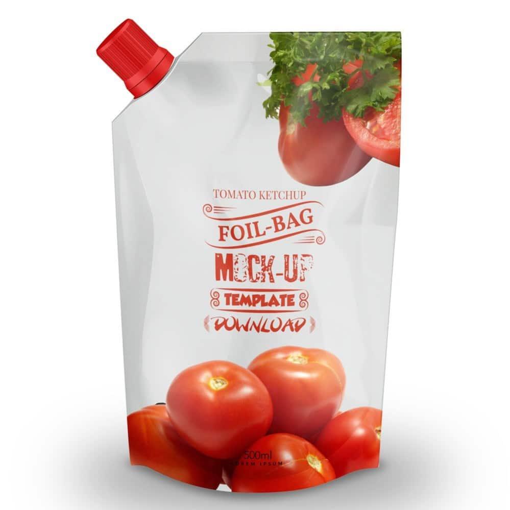 Tomato ketchup foil bag PSD mockup template
