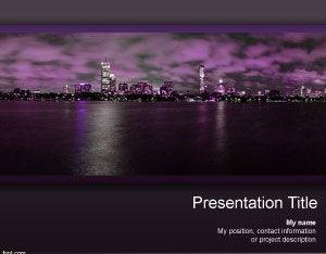 Free Night Skyscraper Scene Powerpoint Template