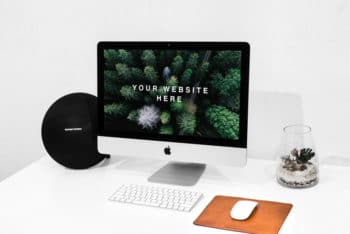 Workspace iMac PSD Mockup for Showcasing Your Next Website Project