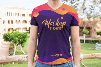 Lovely V-neck T-shirt Design PSD Mockup