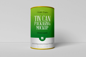 Tin Can Packaging PSD Mockup for Showcasing Packaging Design Presentation