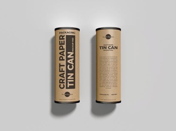 Craft Tube Packaging PSD Mockup
