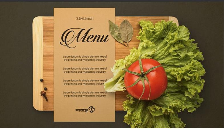 photorealistic menu card psd mockup template