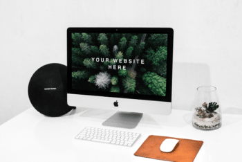 Workspace iMac PSD Mockup for Showcasing Your Next Website Project in a Photorealistic Way