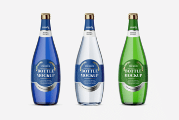 Glass Bottles Set PSD Mockup for Free